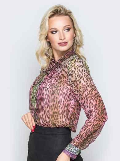 Принтованная блузка с воротником аскот розовая - 19385, фото 2 – интернет-магазин Dressa