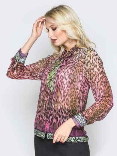 Принтованная блузка с воротником аскот розовая - 19385, фото 4 – интернет-магазин Dressa