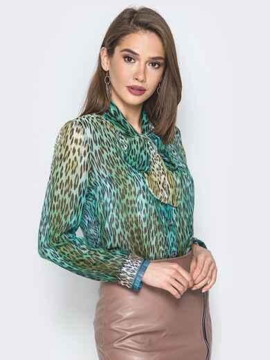 Принтованная блузка с воротником аскот зелёная - 19384, фото 1 – интернет-магазин Dressa