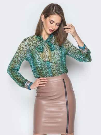 Принтованная блузка с воротником аскот зелёная - 19384, фото 3 – интернет-магазин Dressa