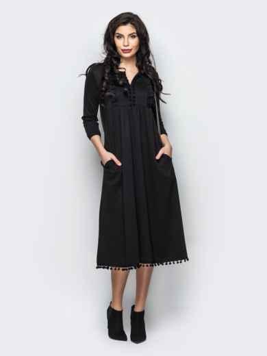 d189ed69c7c Трикотажное платье с завышенной талией и оборкой на полочке 16253 ...