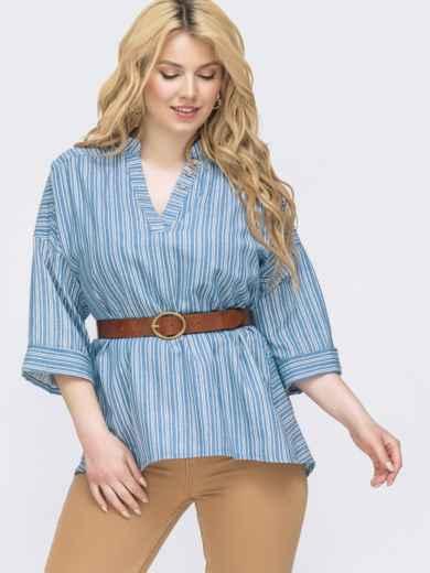 Голубая рубашка в полоску большого размера 46227, фото 1