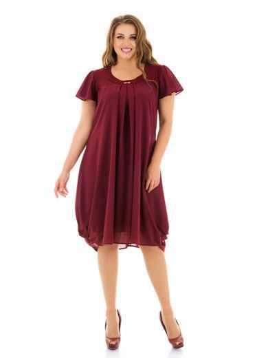 Бордовое платье батал свободного кроя 46494, фото 1