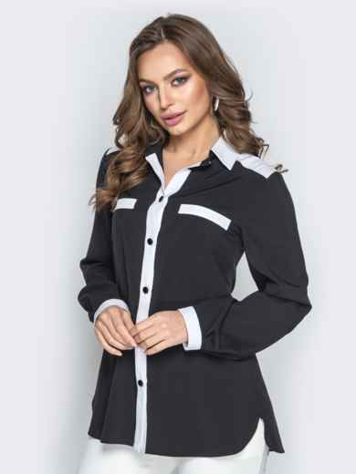 Чёрная блузка из софта с контрастной окантовкой - 21252, фото 2 – интернет-магазин Dressa