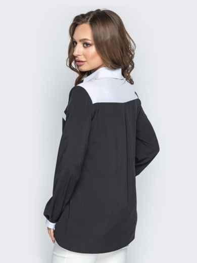 Чёрная блузка из софта с контрастной окантовкой - 21252, фото 3 – интернет-магазин Dressa