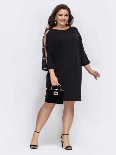 Чёрное платье с разрезами по рукавам 43220, фото 1