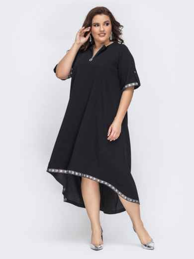 Чёрное платье с удлиненной спинкой 43225, фото 1