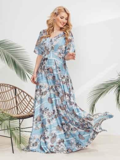 Голубое платье-макси большого размера с принтом 46362, фото 1