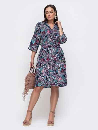 Хлопковое платье батал с принтом фиолетовое 46218, фото 1