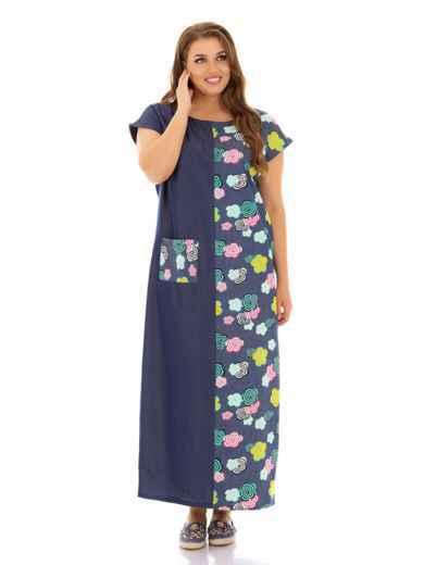 Комбинированное платье батал прямого кроя с принтом синее 46488, фото 1