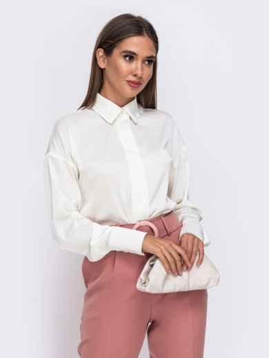 Молочная блузка с отложным воротником и супатной застёжкой  50109, фото 1