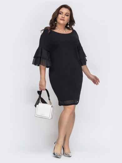 Платье с воланами на рукавах чёрное 43223, фото 1