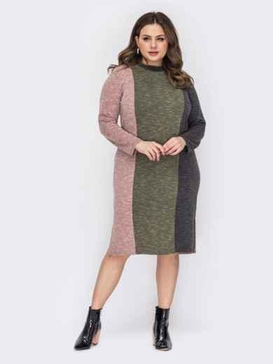 Приталенное платье большого размера розовое 53309, фото 1