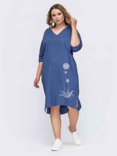 Синее льняное платье с вышивкой батал 46213, фото 1