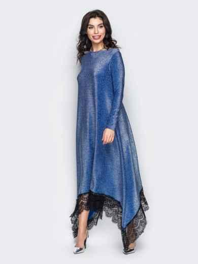 Синее вечернее платье свободного кроя из люрекса 30580, фото 1