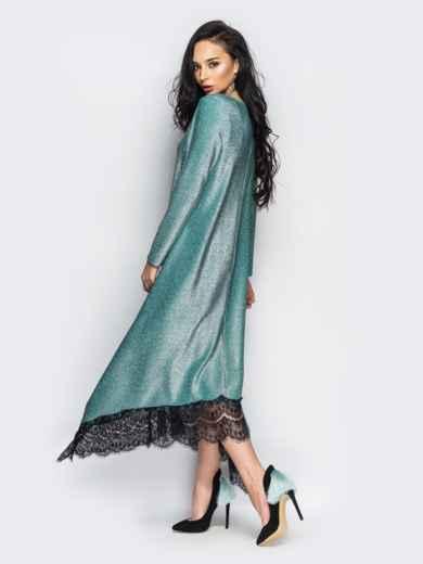 зеленое вечернее платье свободного кроя из люрекса  35578, фото 1