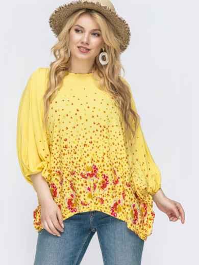 Желтая блузка с цветочным принтом большого размера 46211, фото 1