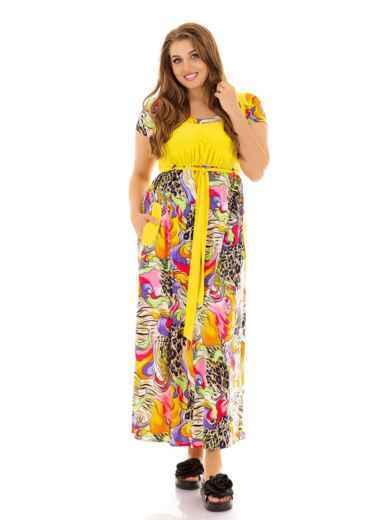 Желтое платье батал с принтом и завышенной талией 46490, фото 1