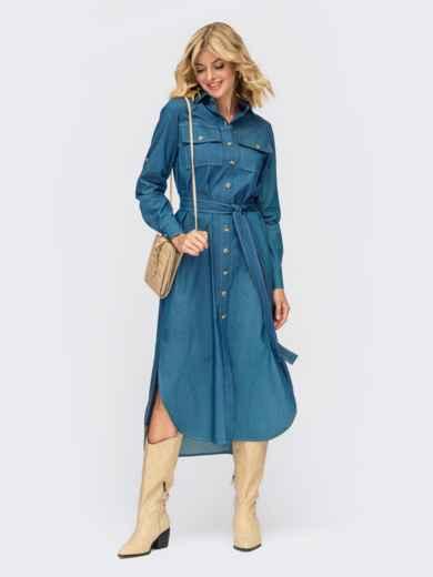 Платье-рубашка из джинса с разрезами по бокам синее 55164, фото 1