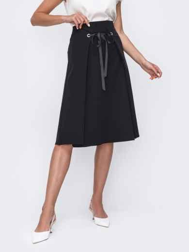 Чёрная юбка-трапеция из костюмной ткани 49396, фото 1