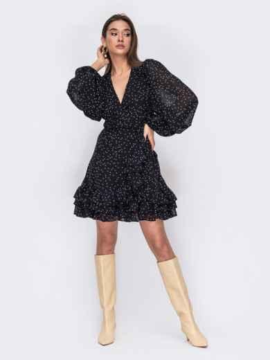 Черное платье из креп-шифона на запах с оборками 53478, фото 1