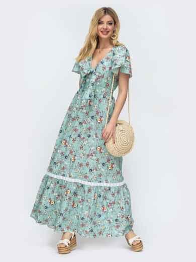 """Платье-макси с принтом и рукавом """"крылышко"""" зеленое 46770, фото 1"""