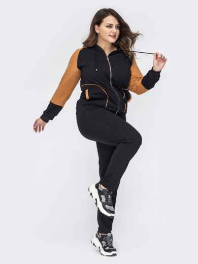 Спортивный костюм большого размера с кофтой чёрный 44555, фото 2