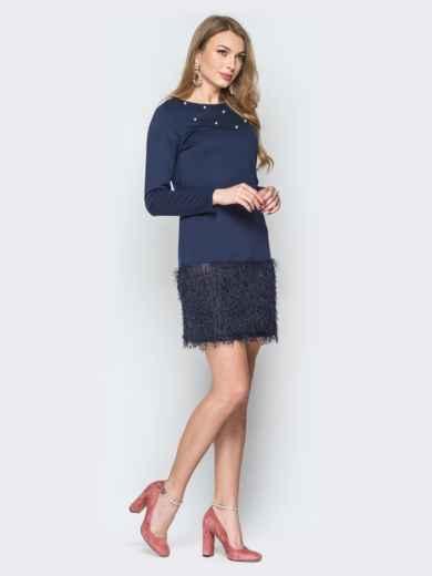 """Тёмно-синее платье с низом из трикотажа """"травка"""" - 19723, фото 2 – интернет-магазин Dressa"""