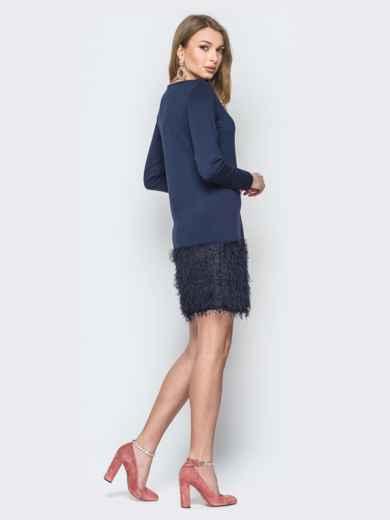 """Тёмно-синее платье с низом из трикотажа """"травка"""" - 19723, фото 3 – интернет-магазин Dressa"""