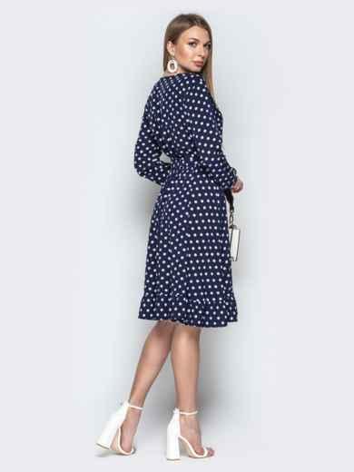 9acf0f0e557 Тёмно-синее платье в горошек с V-вырезом и воланом 20639 – купить в ...