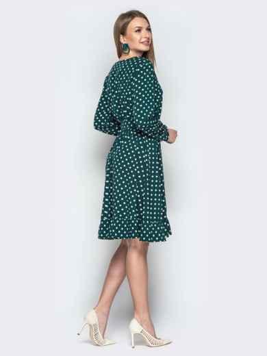 Зелёное платье в горошек с V-вырезом и воланом - 20641, фото 2 – интернет-магазин Dressa