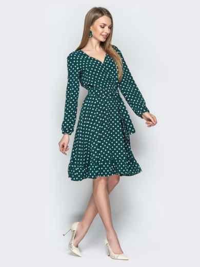 Зелёное платье в горошек с V-вырезом и воланом - 20641, фото 3 – интернет-магазин Dressa