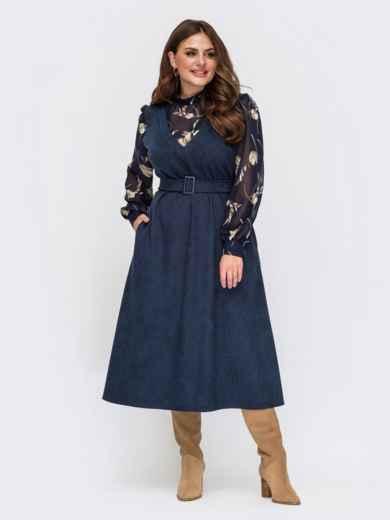 Комбинированное платье батал с длинными рукавами из шифона темно-синее 55562, фото 1