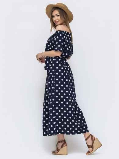 Длинное платье в горох с резинкой по талии тёмно-синее 46608, фото 2
