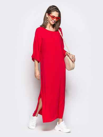 Красное платье oversize с высокими разрезами по бокам 21948, фото 1