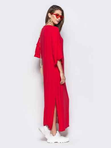 Красное платье oversize с высокими разрезами по бокам - 21948, фото 2 – интернет-магазин Dressa