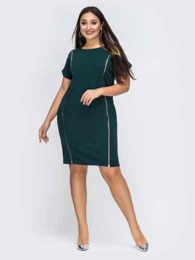 Платье батал зеленого цвета с карманами 44679, фото 1