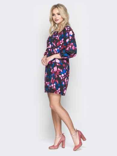 Платье-мини с цветочным принтом свободного кроя - 19967, фото 2 – интернет-магазин Dressa