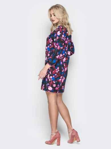 Платье-мини с цветочным принтом свободного кроя - 19967, фото 3 – интернет-магазин Dressa
