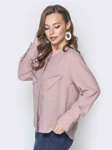 Пудровая блузка с асимметричными карманами - 19964, фото 2 – интернет-магазин Dressa