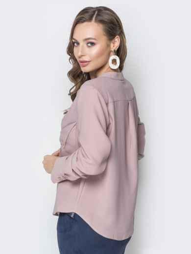 Пудровая блузка с асимметричными карманами - 19964, фото 3 – интернет-магазин Dressa