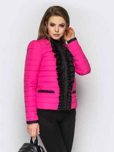 Розовая куртка с контрастной рюшей на полочке - 12943, фото 1 – интернет-магазин Dressa
