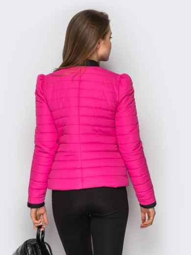 Розовая куртка с контрастной рюшей на полочке - 12943, фото 2 – интернет-магазин Dressa