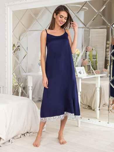 Тёмно-синяя ночная сорочка с оборкой - 20468, фото 1 – интернет-магазин Dressa