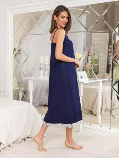 Тёмно-синяя ночная сорочка с оборкой - 20468, фото 2 – интернет-магазин Dressa