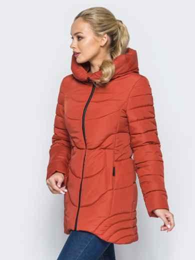 Удлиненная куртка с капюшоном и ассиметричным низом оранжевая - 16965, фото 2 – интернет-магазин Dressa