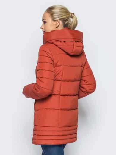 Удлиненная куртка с капюшоном и ассиметричным низом оранжевая - 16965, фото 3 – интернет-магазин Dressa