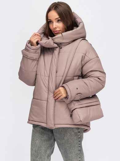 Зимняя куртка пудрового цвета с сумкой в комплекте 55484, фото 1