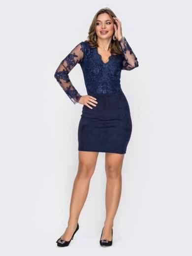 Синее платье-футляр из замши с кружевным верхом 52314, фото 1