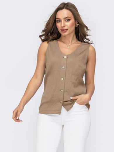 Бежевая блузка прямого кроя на пуговицах 54410, фото 1